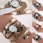 Women Graceful Leather Strap Bracelet Dress Watch Rhinestone Sequins Wrist Watch