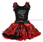 BOOS Ghost Halloween Black Top Shirt Red Black Dot Skirt Girls Outfit Set 1-8Y