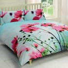 Rapport Blue/Pink Poppies Floral Photographic Duvet Set Single Double or King