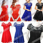 Sexy Women Vintage Lace Short Sleeve Formal Evening Cocktail Mini Party Dress W2