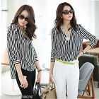 Women Black White Stripe Lapel Chiffon Blouse Tops Long Sleeve Business Shirt