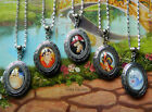 DISNEY VILLAINS LOCKET PENDANT NECKLACE GLASS URSULA MALEFICENT GASTON HOOK