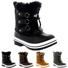 Unisex Kids Pull On Drawstring Closure Winter Snow Rain Fur Lined Boots UK 9-6