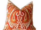 Duralee Orange Ikat Pillow Cover
