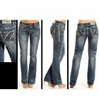 Rock & Roll Cowgirl Boyfriend Fit Angled Line Embroidery & Leather Ladies Jean