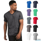 New Men's V-Neck Short Sleeve Solid T-Shirt Sizes S-2XL Basic Plain Cotton Tee