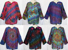 Unisex Tie Dye Long Sleeve Cotton TOP Pullover Shirt Sz XL Plus 1X Boho Gypsy