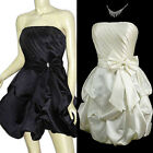 New Pleated Satin Strapless Prom Formal Cocktail Party Dress