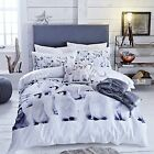 Catherine Lansfield Penguins Colony Black/White/Grey Duvet Set 3 Sizes