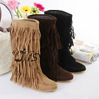 Women's Layer Tassels Slouch Trim Suede Fring Flat Shoes Ladies Mid Calf Boots
