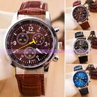 A+ Classic Mens Boys Watch Blue Glass Leather Sport Quartz Dress Wrist Watch New