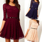 Hot Womens Spoon Neck 3/4 Sleeve Lace Sakter Dress Slim Fit Party Dress 5376