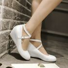 Lolita Ladies Round Toe  Low Wedge Heel Pumps Ankle Strap Shoes All US Size