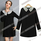 Women's Fashion Lace Long Sleeve Peter Pan Collar Party Cocktail Mini Dress WB