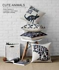 Cotton/Linen Cushion Cover Shell Throw Pillow Case cute animal floral cat 1 pc