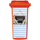 YOUR HOUSE NUMBER / STREET NAME ON A CUSTOM WHEELIE BIN STICKER PANEL (WPB-0331)