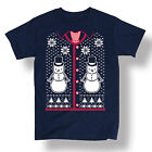 Ugly Sweater Vest Tie Christmas Snowmen Snowflakes Holiday Novelty - Men's Tee