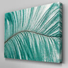 AB456 Teal Giant Leaf Abstract Canvas Wall Art Ready to Hang Picture Print