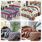 Striped Queen Size Quilted Coverlet/Bedspread Set New Cotton 230*250cm Warm Soft