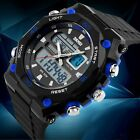 Luxury Mens Sport Quartz Military Army Digital Analog Wrist Watch Black Rubber