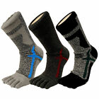 Mens Sports Athletic Crew Compression Running Dry Coolmax Five Finger Toe Socks
