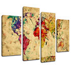 MAB415 Abstract World Map Paint Canvas Wall Art Multi Panel Split Picture Print