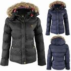 NEW WOMANS LADIES FUR HOODED QUILTED PADDED HIP LENGTH JACKET