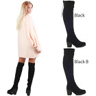 WOMENS LADIES THIGH HIGH OVER THE KNEE CHUNKY PLATFORM HEEL STRETCH BOOTS SIZE