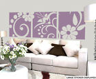 Beautiful Abstract Floral 3 Panel Wall Art Vinyl Stickers Flowers Decals Murals