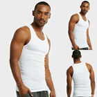 Lot of 6 Pack Men's Tank Top 100% Cotton A-Shirt Wife Beater Ribbed Undershirt