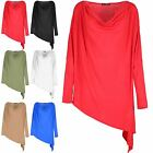 Womens Long Sleeve Batwing Asymmetric Cowl Neck Side Slant Top Stretchy Jumper