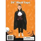 CHILDREN KIDS Hooded Cloak Black Red Velvet Cape Halloween Fancy Dress Costume