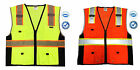 SAFETY VEST HIGH VISIBILITY REFLECTIVE STRIPS DELUXE ANSI CLASS 2 ORANGE/YELLOW