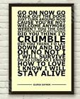 Gloria Gaynor - I Will Survive - Typography Lyric Art Poster Print A4 A3 6x4""