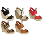 Breckelle's DENISE-28 Womens Ankle Strap Cut Out Espadrille Wedge Heels