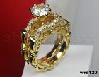 Vintage Yellow Gold Round Solitaire 925 Silver Engagement Bridal Ring Set