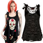 Jawbreaker Lace Back Skull Tank Top Punk Gothic Sugar Skull Day of the Dead