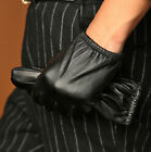 Men's Genuine Lambskin Leather Touch Screen Driving Gloves Silk Lined Black