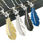 Stainless Steel Silver Green Black Feather Chain Men's Pendant Necklace Fancy