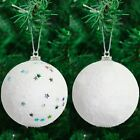 8 Pack of White Star Snowball Christmas Tree Baubles Decorations