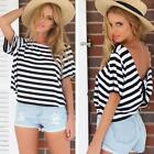 NEW Womens Summer Short Sleeve Stripe T-Shirt Casual Cross Backless Tops Shirt Z