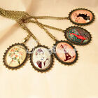 1PC 7 Colours Vintage Brass Oval Pendant Necklace Chain 70cm Pendant 5.5*4cm