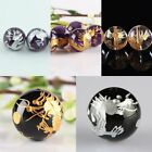 Gold Sliver Carved Dragon Black Agate Amethyst Gems Stone Loose Bead DIY Jewelry