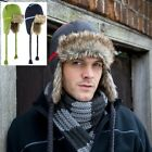 Mens Womens GREY GREEN BLUE Warm Faux Fir Micro Fleece Lined Hat with Ear Flaps