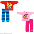 Infant Babies Boys Girls Disney Mickey & Minnie Mouse Long Pyjamas