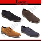 Lucini Mens Real Suede Lace Up Smart Desert Shoes