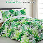 3 Pce Amazon Panama Leaf Green Quilt Cover Set QUEEN KING