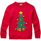 Baby Toddler Younger Girls Christmas Tree Baubles Pom-Pom Novelty Knitted Jumper