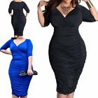 Plump Women Plus Size Sexy V-Neck Clubwear Ruched Bodycon Hip Package Dresses