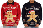 NOROZE Mens Unisex Gingerbread Novelty Knitted Christmas Jumper Pullover Sweater